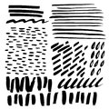 Hand drawn scribble and spot. Vector set of design elements. Ink abstract textures.
