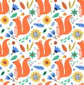 Hand drawn seamless background with squirrels, leaves and flowers.