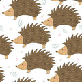 Hand Drawn seamless cute hedgehog pattern vector illustration.