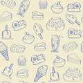 Hand Drawn Seamless Dessert Icons Royalty Free Stock Photo