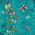 Hand-drawn seamless pattern in blue Stock Image