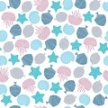 Hand drawn seamless pattern in blue colour