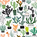 Hand drawn seamless pattern with cacti and succulents,vector design