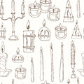 Hand drawn Seamless pattern with Candles