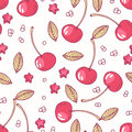 Hand drawn seamless pattern with cherry. Background for cafe, kitchen or food package