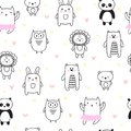 Hand drawn seamless pattern for children. Background for cute little boys and girls with funny animals. Doodle children drawing ba Royalty Free Stock Photo