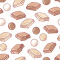 Hand drawn seamless pattern with chocolate. Background for cafe, kitchen or food package