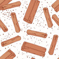 Hand drawn seamless pattern with cinnamon sticks. Background for cafe, kitchen or food package