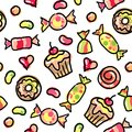 Hand drawn seamless pattern colorful candies Royalty Free Stock Images