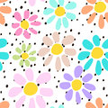 Hand drawn seamless pattern with colorful unusual flowers on polka dots background. Perfectly look on fabric, textile, etc Royalty Free Stock Photo