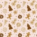 Hand drawn seamless pattern with cookie. Cute gingerbread repeating wallpaper.