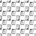 Hand Drawn seamless pattern document doodle. Sketch style icon. Decoration element. Isolated on white background. Flat design.