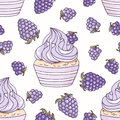 Hand drawn seamless pattern with doodle cupcake and blackberry cream. Food background