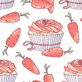 Hand drawn seamless pattern with doodle cupcake and carrot buttercream. Food background
