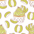 Hand drawn seamless pattern with doodle cupcake and kiwi buttercream. Food background