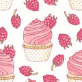 Hand drawn seamless pattern with doodle cupcake and raspberry buttercream. Food background