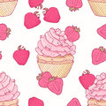 Hand drawn seamless pattern with doodle cupcake and strawberry buttercream. Food background