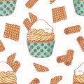 Hand drawn seamless pattern with doodle cupcake, waffles and buttercream. Food background