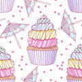 Hand drawn seamless pattern with doodle rainbow cupcake and buttercream. Food background