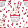 Hand drawn seamless pattern with doodle red velvet cupcake. Food background