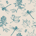 Hand-drawn seamless pattern with dragonfly, beetle and plants. Royalty Free Stock Photo
