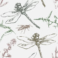 Hand-drawn seamless pattern with dragonfly, wasp and plants. Royalty Free Stock Photo
