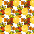 Hand drawn seamless pattern with fast food. Doodle street food. Fries potato and burgers background. For menu