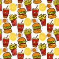 Hand drawn seamless pattern with fast food. Doodle street food. Fries potato, cola and burgers background.