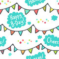 Hand-drawn seamless pattern with flags, clouds and birthday gree