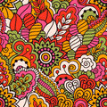 Hand drawn seamless pattern with floral elements. Colorful ethnic background. Royalty Free Stock Photo