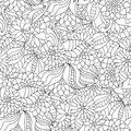 Hand drawn seamless pattern with flowers and leaves for adult anti stress colouring book. Royalty Free Stock Photo