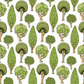 Hand drawn seamless pattern with green doodle trees. Cute summer vector illustration for wallpaper, wrapping, packaging, web site Royalty Free Stock Photo
