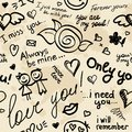 Hand drawn seamless pattern inscriptions love vector eps Royalty Free Stock Image