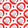 Hand drawn seamless pattern with Japan fortune maneki-neko cats. Yin yang background for design. Red zen circle hand-drawn with in