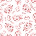 Hand drawn seamless pattern with diamonds and flowers