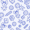 Hand drawn seamless pattern with kids Stock Photos