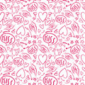 Hand drawn seamless pattern with a lipstick kiss prints on white background.