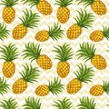 Hand drawn seamless pattern with pineapple
