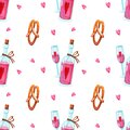 Pattern of rose wine in bottle, glass and pretzel Royalty Free Stock Photo