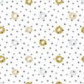 Hand drawn seamless pattern with polka dot texture and circles. Dry brush effect.