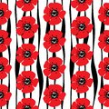 Hand drawn seamless pattern of red poppies and stylized strips o