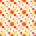 Hand-drawn seamless pattern. Red sun, yellow stars and planets on a white background