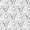 Hand drawn seamless pattern with school stationery tools. Vector black and white background in doodle style. School tools texture. Royalty Free Stock Photo