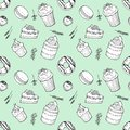 Hand drawn seamless pattern set of cakes, donut, macaroon, candy, muffins with herbs on mint background.