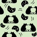 Hand drawn seamless pattern of silhouette cheeses and rats on green background.