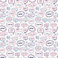 Hand drawn seamless pattern of speech bubbles Royalty Free Stock Photo