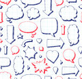 Hand drawn seamless pattern of speech bubbles Royalty Free Stock Photo