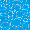 Hand drawn seamless pattern with speech or thought bubbles. Vector background Royalty Free Stock Photo