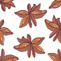 Hand drawn seamless pattern with star anise. Background for cafe, kitchen or food package Royalty Free Stock Photo