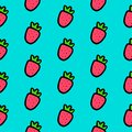 Hand drawn seamless pattern with strawberry on blue font